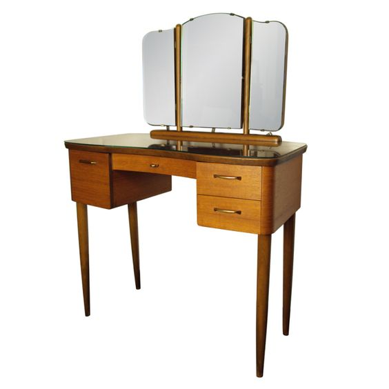 Mid century swedish modern dressing table vanity with mirror dressing antiques and unique - Modern bathroom dressing table ...