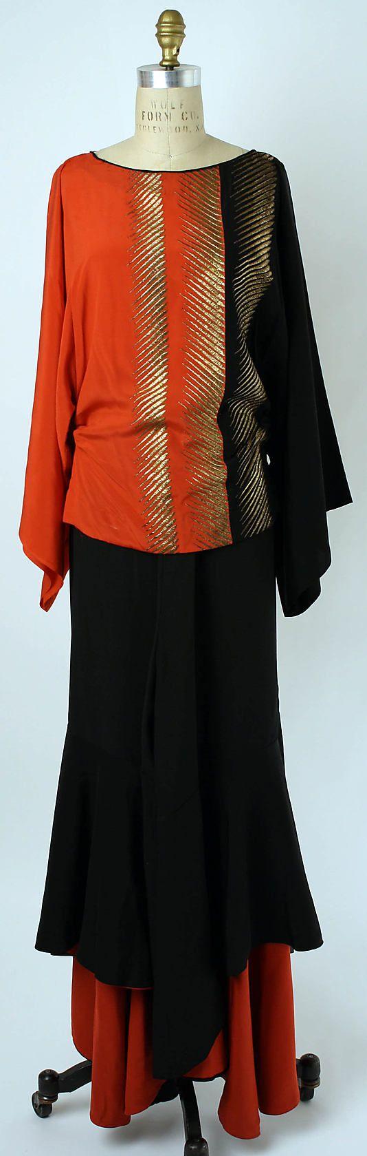 Lounging Pajamas, Edward Molyneux, 1932. silk and metallic thread. Image via Pinterest.