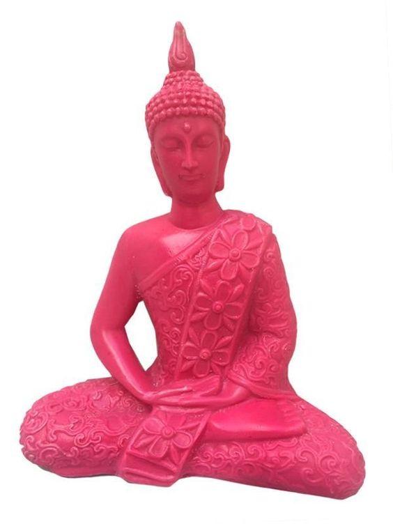Escultura Buda Tailandês em Marmorite 23cm - http://www.artesintonia.com.br/escultura-buda-tailandes-em-resina-flores-23cm