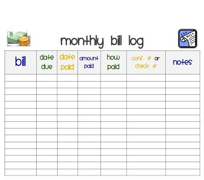 I Heart Crafting Printables ~ free monthly bill organizer\/record - Bill Organizer