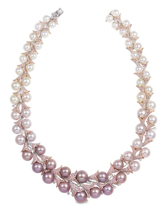 YOKO London diamond, pink sapphire, Freshwater and South Sea pearl necklace.