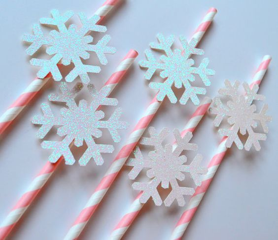 Pink Snowflake Straws by PopFizzHooray on Etsy