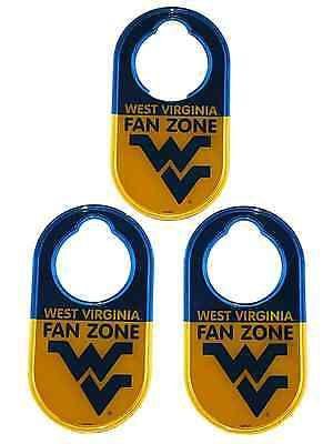 """West Virginia Mountaineers Jenkins Enterprises """"Fan Zone"""" Door Knob Hangers 3 PK"""