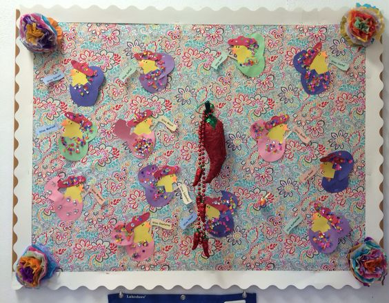 """Fiesta Bulletin Board. We read """"Chicks and Salsa"""" then the students made a chick hatching from colorful eggs with confetti."""