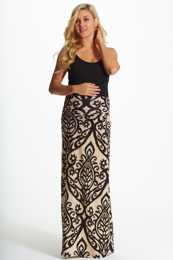 Black-Cream-Print-Maxi-Skirt