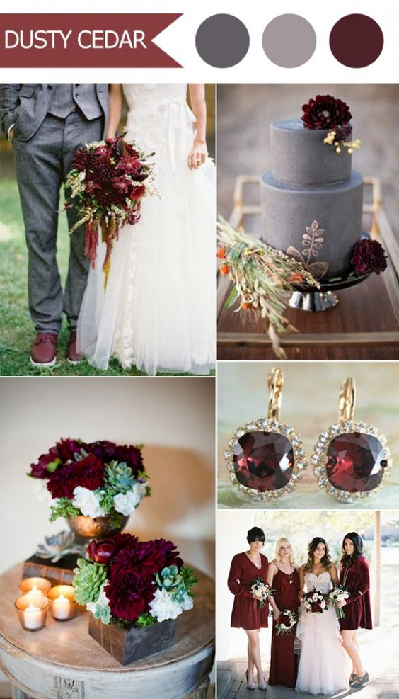 2016 trending deep red marsala and gray fall wedding color ideas