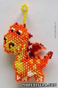 Схема брелка дракона - Животные - Схемы плетения бисером - Сокровищница статей - Плетение бисером украшений, деревьев и цветов, схемы мк: