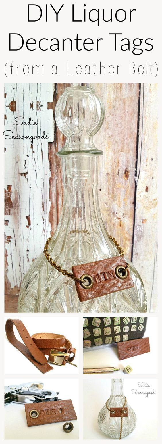 Thrift store leather belt stamped and repurposed as a DIY Liquor Bottle Decanter Tag by Sadie Seasongoods / www.sadieseasongoods.com