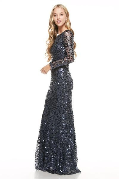 Prom navy rose gold long sequin bridesmaid dress evening for Long sleeve sequin wedding dress