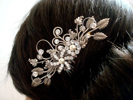 Bridal hair comb Flower and leaf hair comb wedding by treasures570