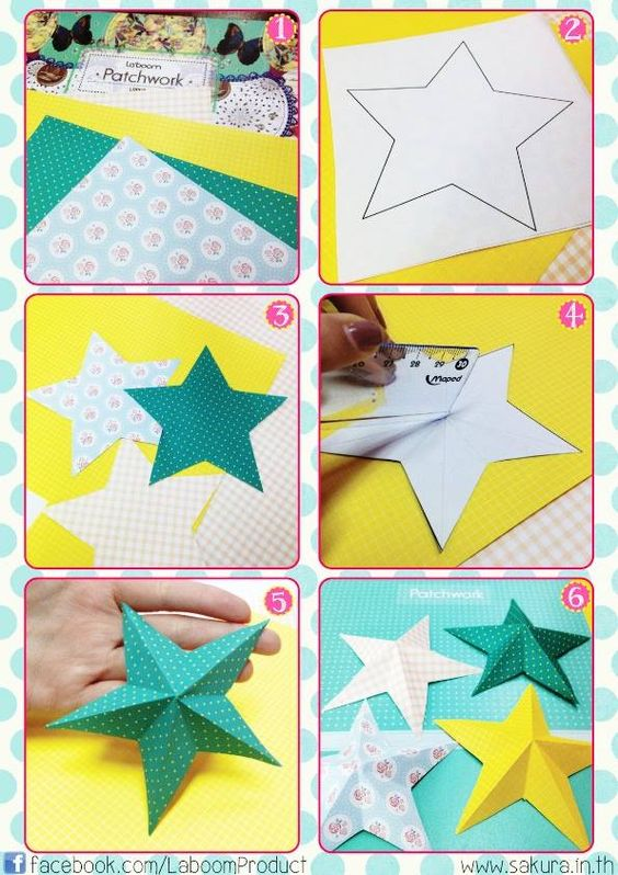 How To Make A 3D Paper Star. #diy #Laboom #paper #star #origami