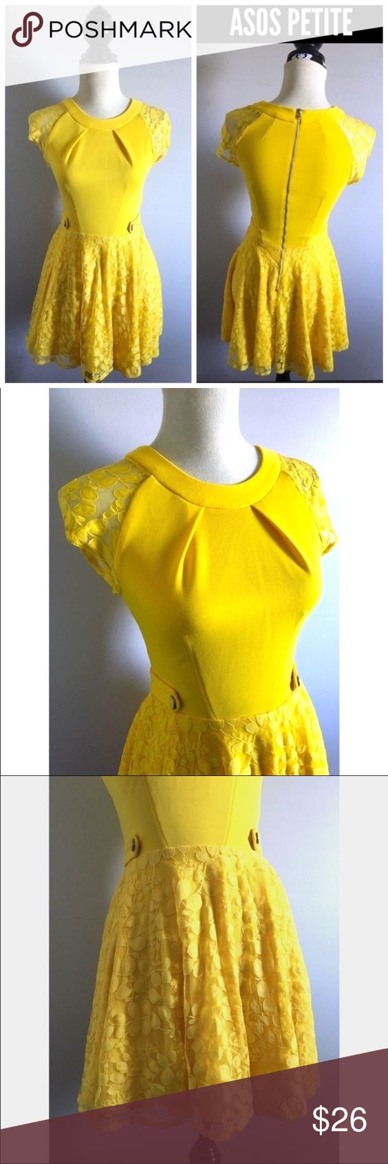 """ASOS Petite yellow lace skater dress Bust-32-34"""" Length-35""""  Sz 2  Super cute dress with sequin trims and side cut outs.  Only selling  #dress #cutout #skaterdress #navy ASOS Petite Dresses Mini"""