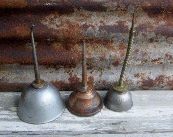 Vintage Collection of 3 Rustic Oil Cans EAGLE Metal Tins Orange Antique Oil Tins Garage Shop Industrial Farm Barn Props Old Fashioned Metal