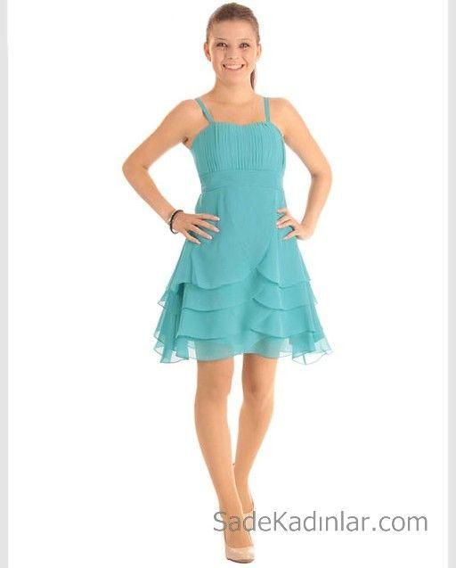 14 Yas Abiye Elbise Yesil Kisa Askili Katmanli Klos Etekli Elbise Moda Stilleri Elbise Modelleri