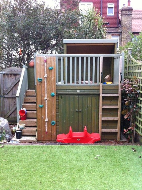 Pinterest the world s catalog of ideas for Storage shed playhouse combo plans