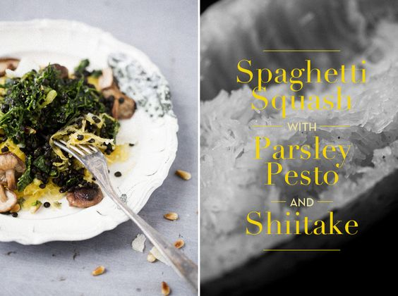 http://www.greenkitchenstories.com/spaghetti-squash-with-beluga-lentils-parsley-pesto-shitake/
