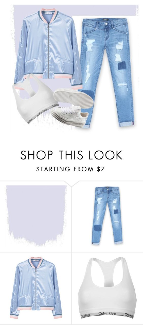 """""""Bomber blue"""" by fleuramour on Polyvore featuring Bebe, MANGO, Calvin Klein, Puma, outfit, ootd and fashionset"""