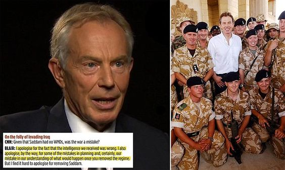 The extraordinary confession by the former Prime Minister came during a TV interview about the 'hell' caused by his and George Bush's decision to oust Saddam Hussein.