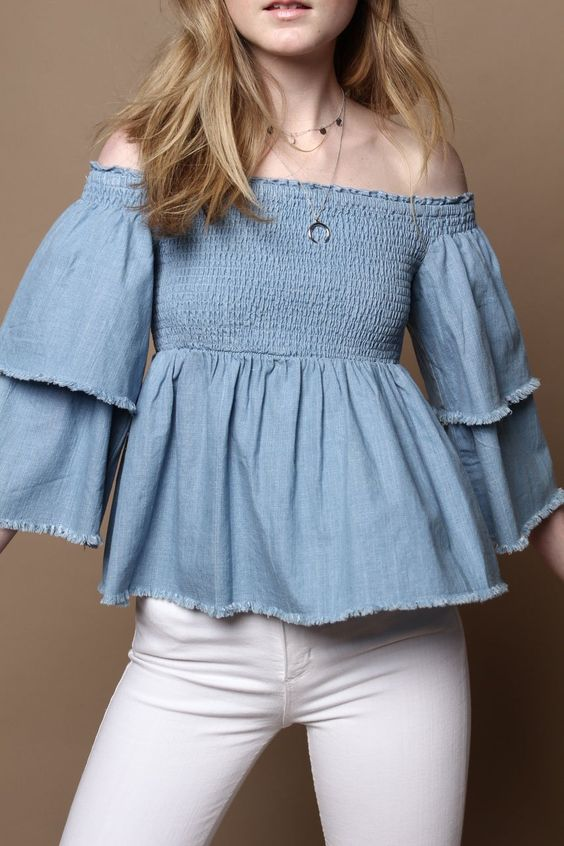 MINKPINK Ruff Stuff Smocked Ruffle Sleeve Top - Denim