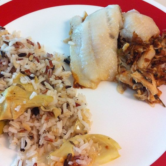 Baked stuffed flounder and wild rice with artichokes #larryskitchen