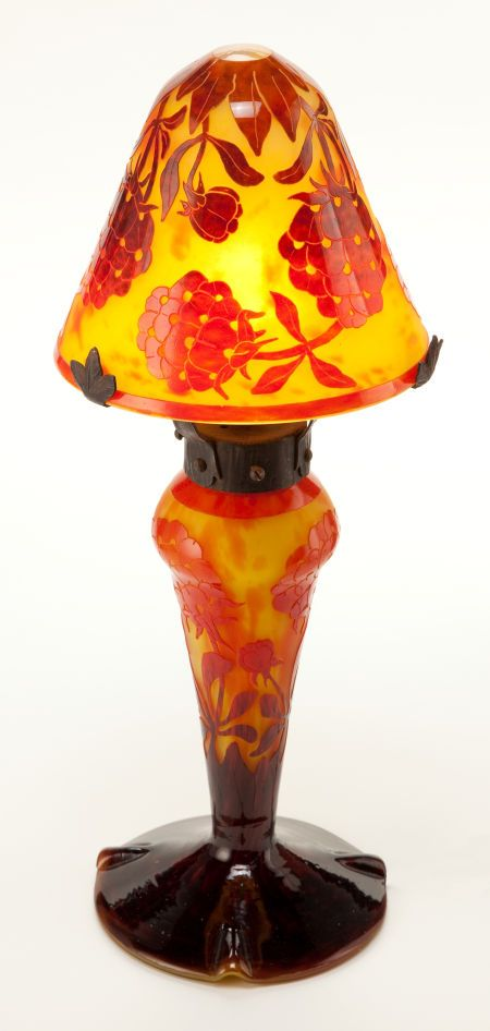 Charles Schneider Le Verre Francais Charder Glass Pivoines lamp. Yellow glass lamp in two parts