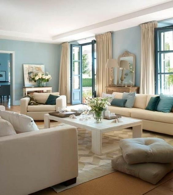blue family room colors and another 3 way sofa arrangement
