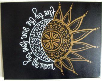 11 x 14 personalizado pintado lienzo--vivir por el sol, el amor por la luna