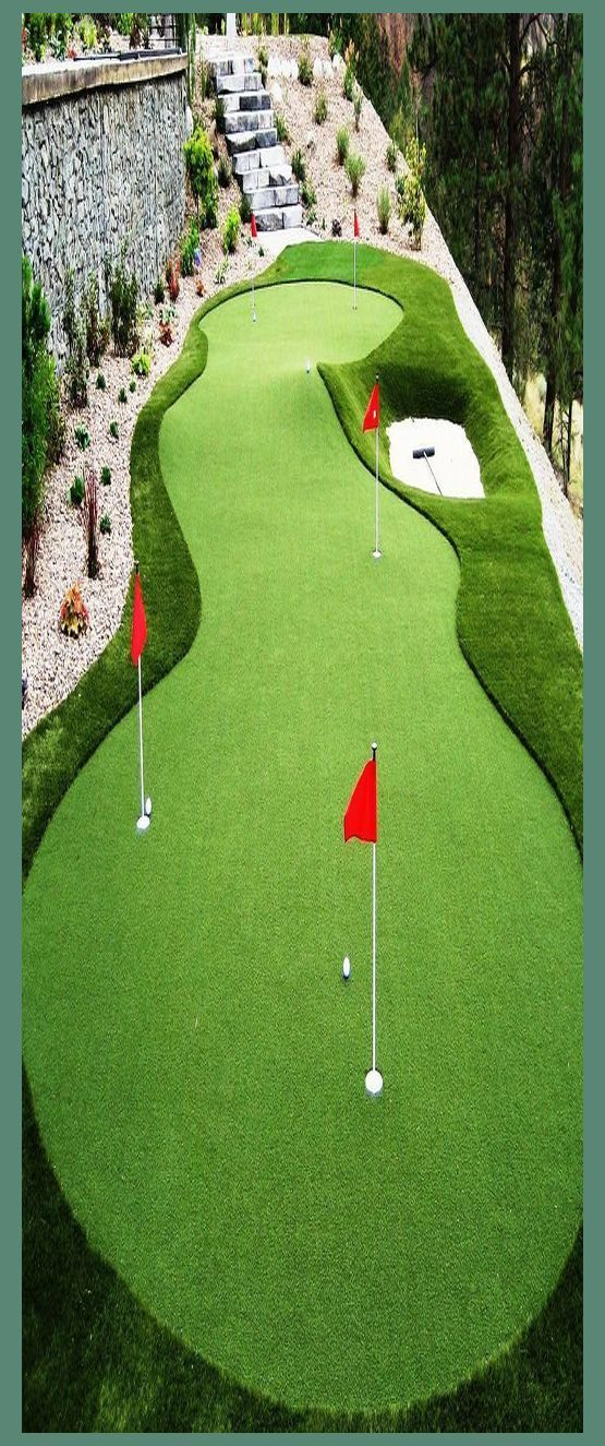 Putting Green With Bunker Get A Professional Golf Green Or Backyard Putting Green From Synlaw B In 2020 Backyard Putting Green Green Backyard Playground Landscaping