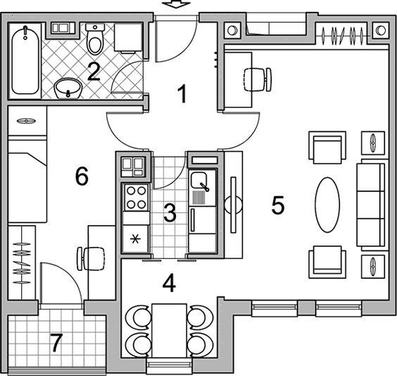 JEDNOIPOSOBNI - 1.5B  Veoma zanimljiv raspored prostorija čini ovaj stan pogodnim za mlade bračne parove koji planiraju proširenje porodice kao i za one koji nameravaju da provedu prijatne trenutke u poznim godinama. Pored prostrane dnevne sobe, koja sa trpezarijom čini jednu celinu, nalaze se kuhinja, spavaća soba i kupatilo.: