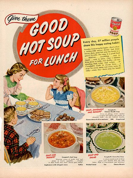 "1951 Campbell's Soup For Lunch Original Food and Drink Print Ad -An original vintage 1951 advertisement, not a reproduction -Measures approximately 10"" x 13"" to 11"" x 14"" -Ready for matting and framin"