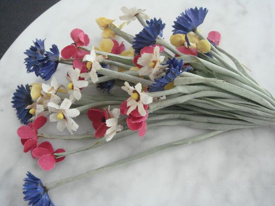 Vintage 1950s Millinery flower bunch cotton wildflower red yellow blue off-white