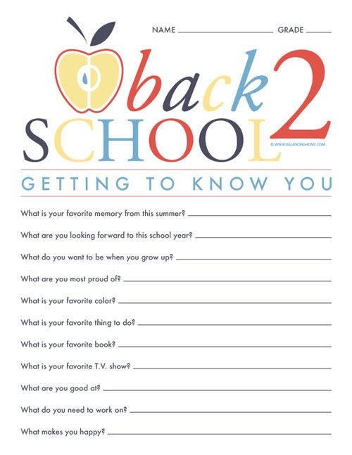 Getting to know you kindergarten questions