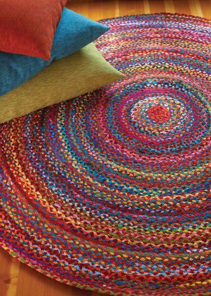 Extra Weave USA Carnivale Round Rainbow Braided Rug
