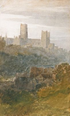 Durham BY  Joseph Mallord William Turner. Only a Romantic painter could capture the awe-inspiring majesty of Durham Cathedral, and in watercolor no less!
