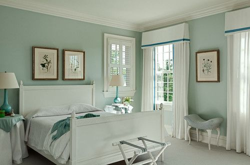 Bedroom, The Beautiful Design Of Guest Bedroom Paint Colors With Blue Wall  Also White Glass Window And White Curtain With White Bed And White Flooru2026