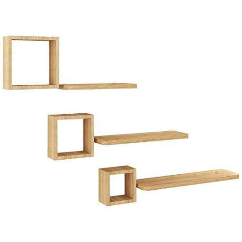 Set Of 6 Modern Floating Wall Mounted Shelves Display Storage Home Decor