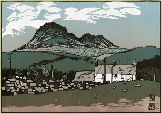 Moel y Gest. Linocut by Ian Phillips