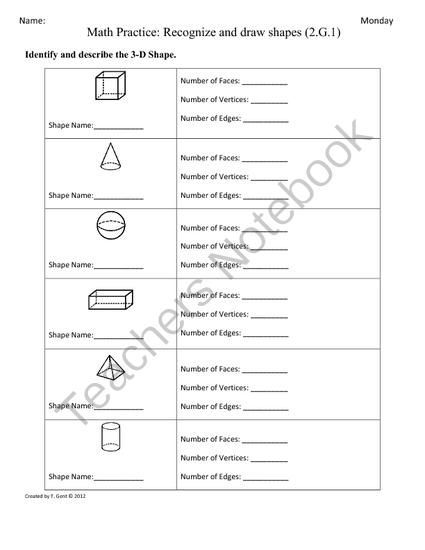 math worksheet : 2 g 1 3d shapes part 2 2nd grade common core math worksheets  : Shapes Maths Worksheets
