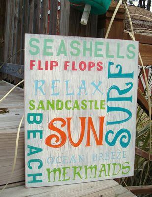 Beach Words Subway Art    Price: 65.00 at etsy.com  Subway art is popular for all varieties of home décor, but this particular piece is dedicated to beach words. Prop…