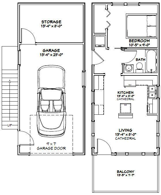 1432 Tiny House 14x32h6b 567 Sq Ft Excellent Floor Plans Garage Floor Plans Tiny House Floor Plans Tiny House Layout