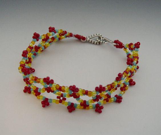 Forgotten Memory  Beaded Netting Bracelet  6.7 by AkasaKreations