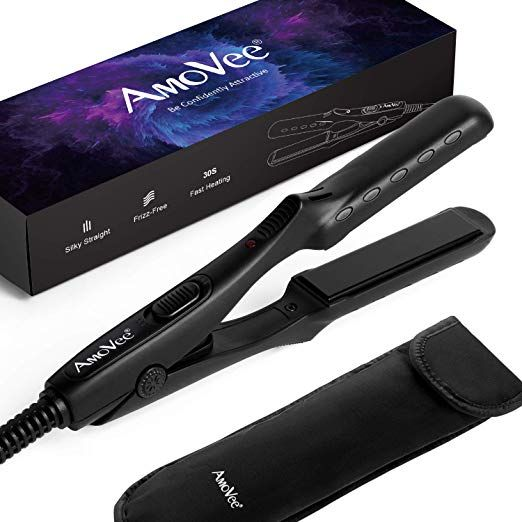 Amovee Mini Flat Iron Nano Titanium Hair Straightener 3d Floating Plates 1 2 Inch Dual Voltage Instant Heat For Travel Free Carry Bag Included Black Review Titanium Hair Straightener Floating Plates Travel