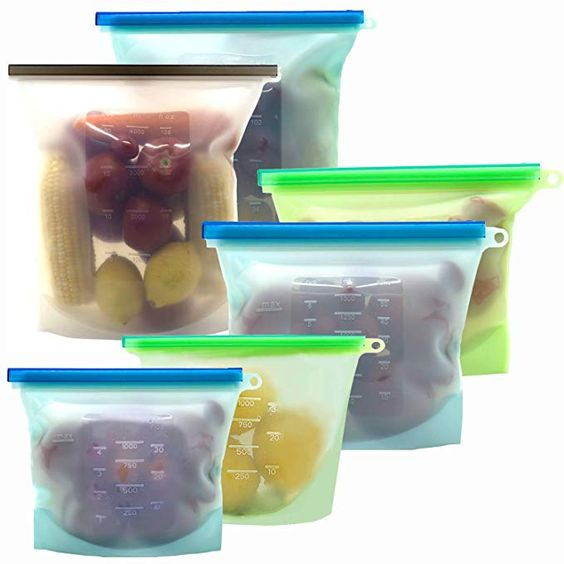 Reusable Silicone Food Storage Bags Kithelp Food Storage Containers With 2 Extra Large 4l 135oz 16 C Food Storage Bags Food Storage Containers Food Storage