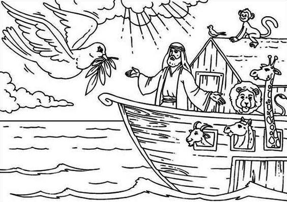 Noahs ark noah welcoming the pigeon that found the land for Noah ark coloring page