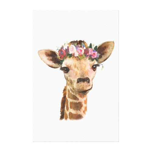 Adorable Giraffe With Flower Crown Canvas Print Giraffe Art Art Baby Animal Art