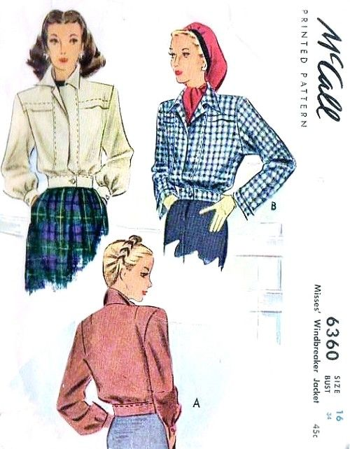 1940s Windbreaker Bomber Style Jacket Pattern McCall 6360 Two ...