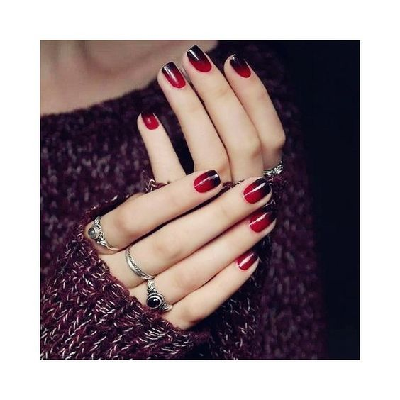 Stylish 24 PCS Gradient Red Black Nail Art False Nails ($1.71) ❤ liked on Polyvore featuring beauty products, nail care and nail treatments