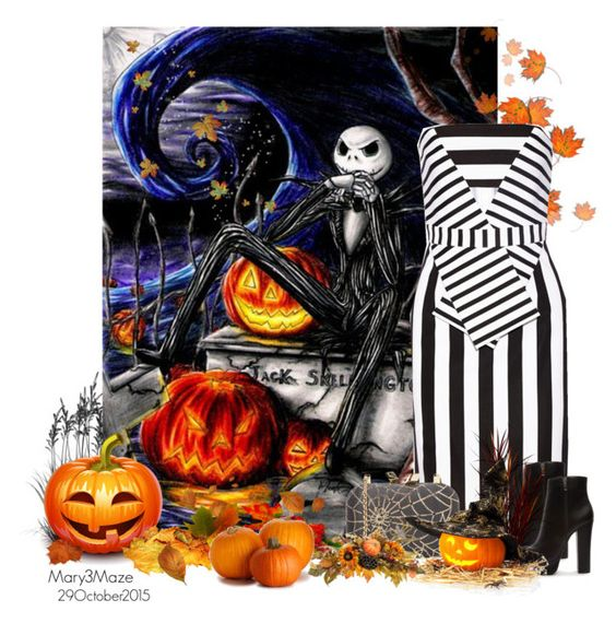 """Jack Skellington The Pumpkin King"" by octobermaze ❤ liked on Polyvore featuring moda, Cushnie Et Ochs, Forever 21, KOTUR, jackskellington, pumpkin, Halloween2015 y autumn2015"