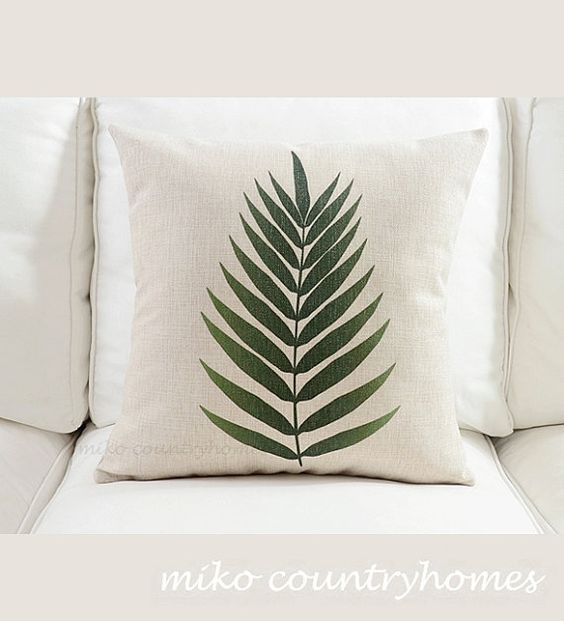 Modern Botanical Pillow : Nature Inspired Fern Botanical Print Throw Pillow Cover Home, Cushion covers and Throw ...