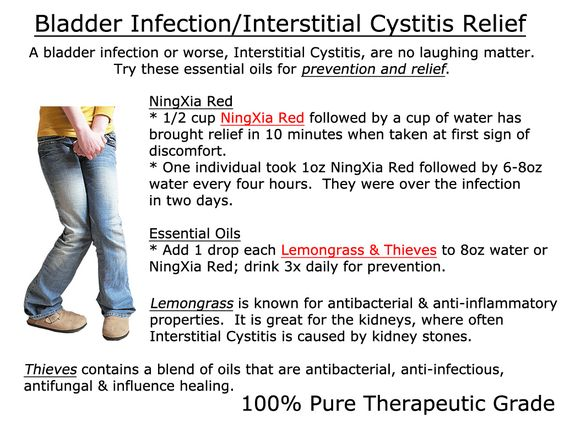 I have personally experienced both Bladder Infections and Interstitial Cystitis.  NO FUN!  I am now IC free and preventing with Young Living Essential Oils - Lemongrass, Thieves & NingXia Red.  I believe my IC was caused by kidney stones - this recipe also works to prevent those!